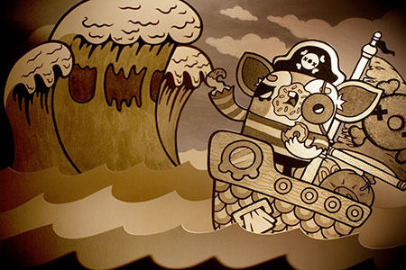 Donut Pirate Paper Diorama